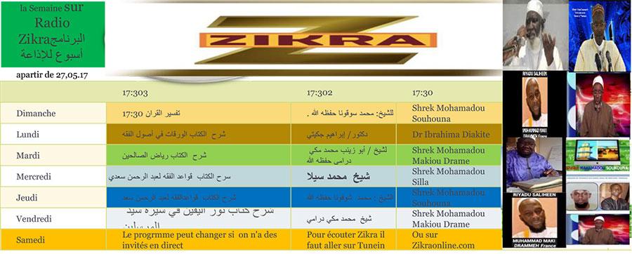 Programme de Zikra en Direct